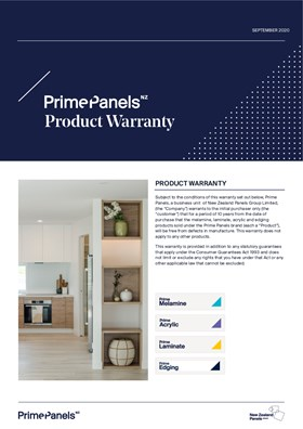 Warranty for Prime Melamine Acrylic Laminate and Edging 2020